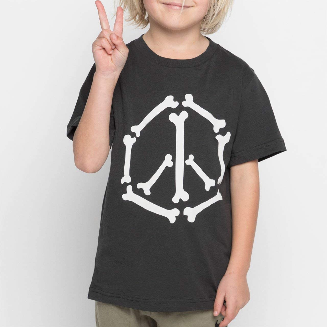 Size 12 Youth Boys Peace Bones Tee Black Munster Kids Munster