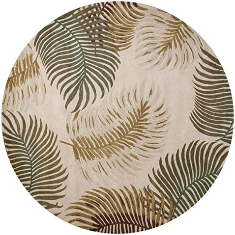 KAS Oriental Rugs Havana Collection Fern View Round Area Rug, 7 x 6 , Natural