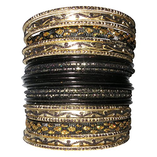 LaRaso & Co Set of Bangle Bracelets for Women (multiple color choices) (Traditional Dance Costumes Of India)