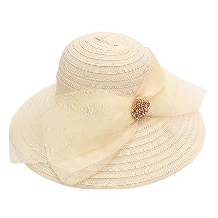 0ab928ff apple LOL Women's Organza Elegant Big Bow Hat Summer Sun Visor Hat Cool Hat  Party Wedding Hat Church Derby Fascinator Cap (Beige): Amazon.in: Home ...