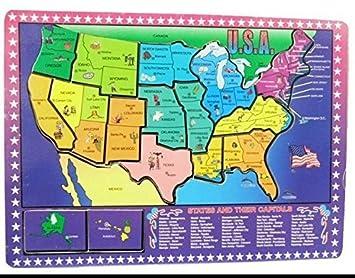 Amazoncom USA Map Wooden Puzzle 16 piece Educational Jigsaw