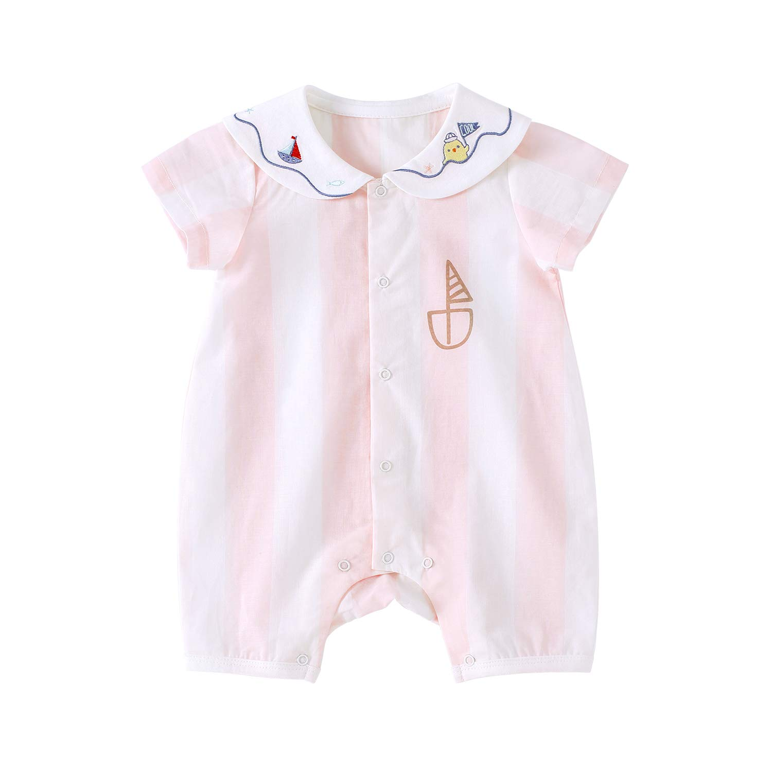 pureborn Baby Girls Romper Cute One-Piece Cotton Short Sleeve Summer Outfit Clothes