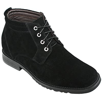 CALTO Men's Invisible Height Increasing Elevator Shoes - Black Suede Leather Lace-up Ankle Boots - G9908-3.2 Inches Taller | Boots