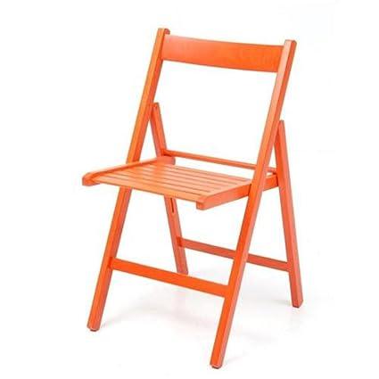 Sedie Pieghevoli Legno Colorate.Sedia Pieghevole In Legno Colorata Naturale Arancione