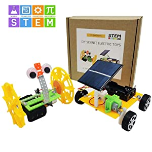 CY-ZAM DIY Science Toys for Kids, STEM Electric Motor Assembly Solar Powered Car Kit, Science Engineering Experiments Projects for Boys & Girls (2 Sets)