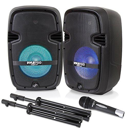 PA Speaker DJ Mixer Bundle - Portable Wireless Bluetooth Sound System with USB SD  XLR 1/4