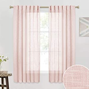 RYB HOME Curtains 63 inch Long - Linen Texture Wave Fabric Semi-Translucent Privacy Voile Drapes for Office Cafe Dining Hallway Living Room Bedroom, 52 x 63 inches, 1 Pair, Pink