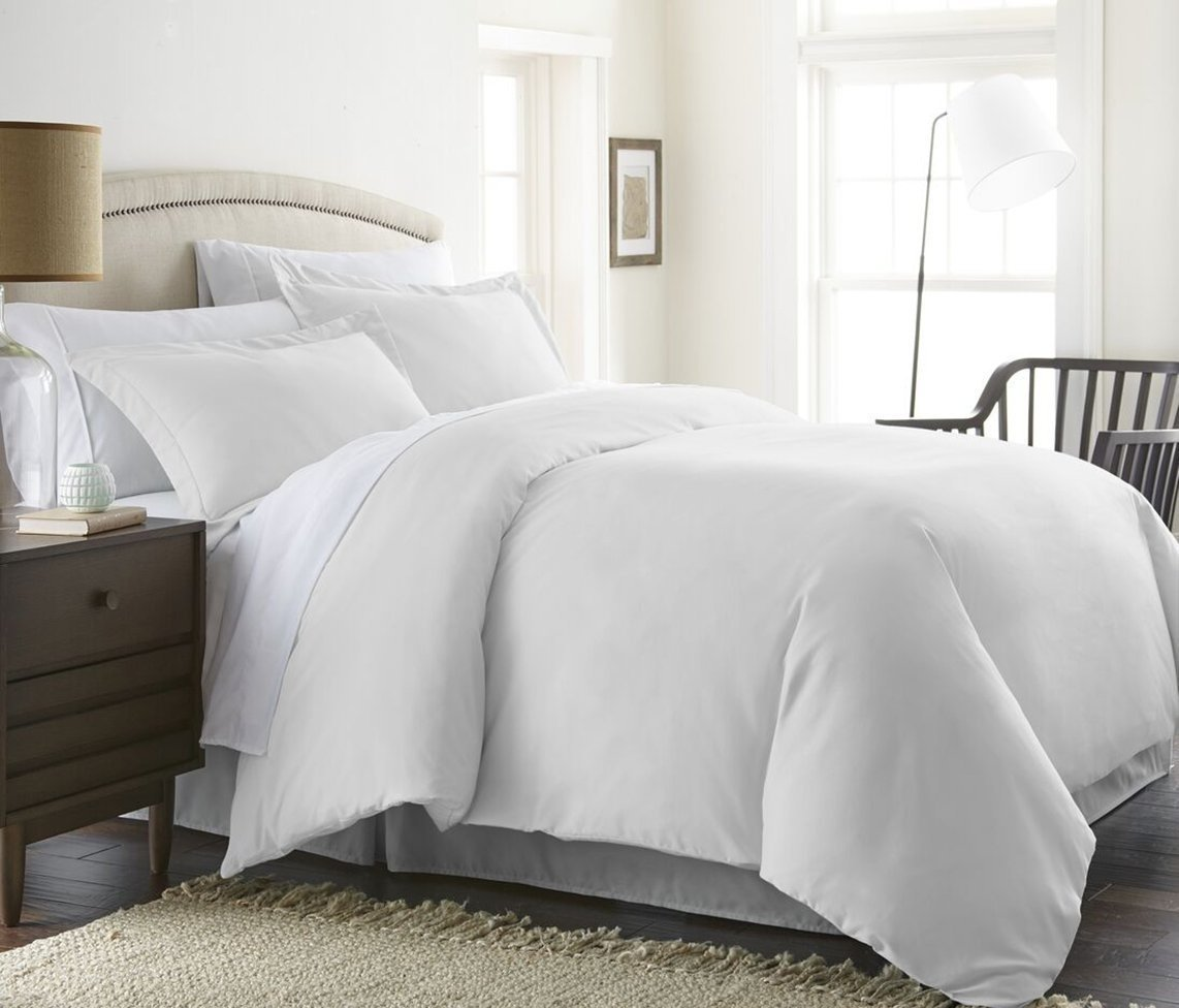 Duvet Cover 600 Thread Count (Duvet Cover with Zipper Closure) 100% Pima Cotton Hypoallergenic Solid By Serene Linens (Twin/TwinXL, White) by Serene Linens