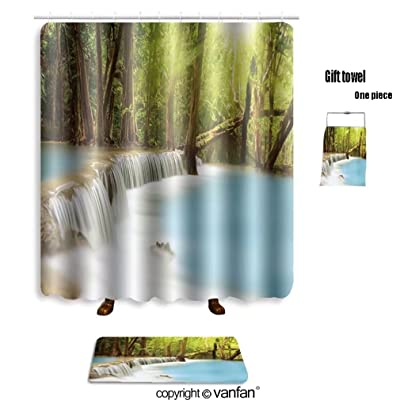 Vanfan Bath Sets With Polyester Rugs And Shower Curtain Level Two Of Huai Mae Kamin Waterfall In Kanc Curtains Bathroom 60 X 72 Inches236