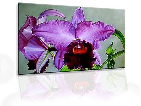 Quadro moderno olio su tela dipinto a mano orchidea pronto
