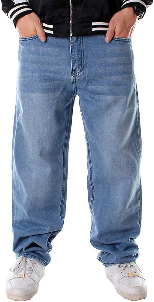 Ruiatoo Men's Baggy Jeans Classic Plain Loose Hip Hop Pants Dance Black Jeans Denim