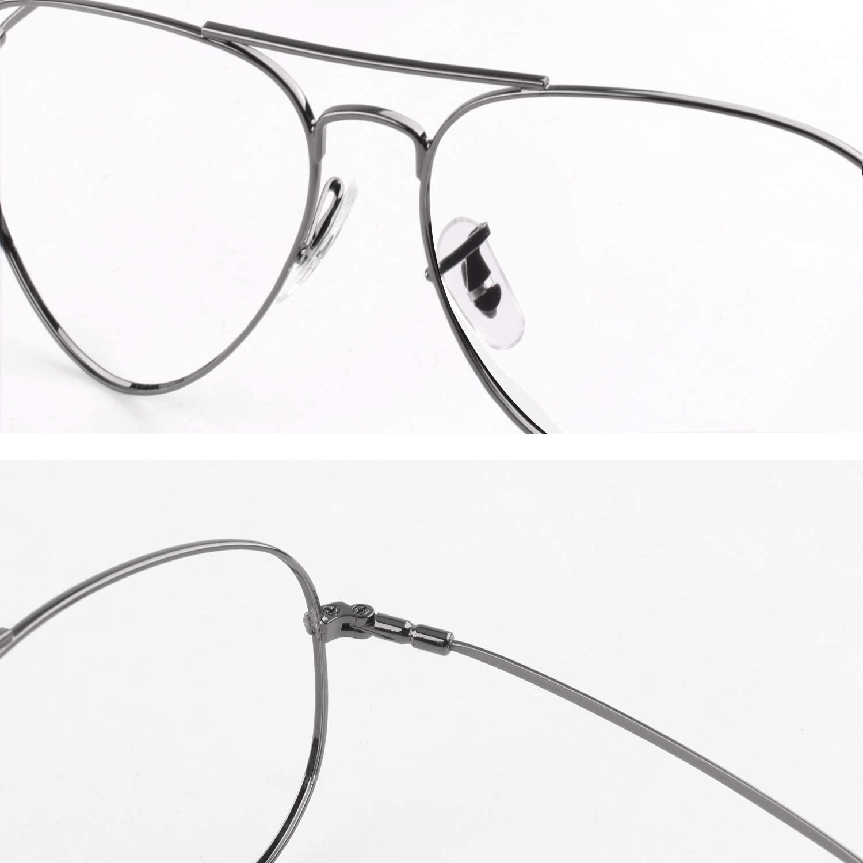 CGID Gafas Sin Graduar Piloto Cl/ásicas Montura de Gafas Mujer Templo de Metal de Memoria Protecci/ón UV400 P25