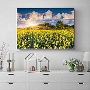 Decoración nórdica del hogar Girasoles florecientes Sol Arte de la pared Jardín Carteles e impresiones Lienzo Pintura Decoración de la sala 70x50cm sin marco: Amazon.es: Bricolaje y herramientas