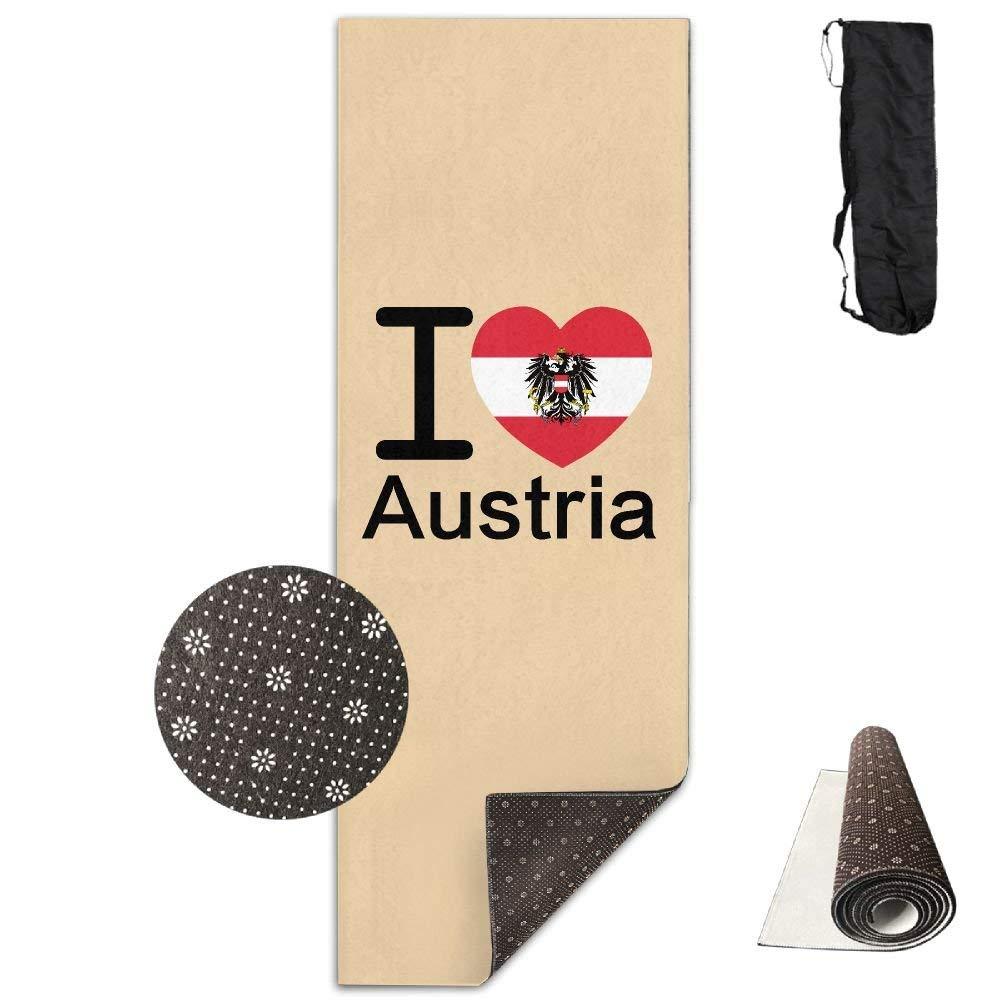 I Love Austria Flag Deluxe,Yoga Mat Aerobic Exercise Pilates Anti-slip Gymnastics Mats
