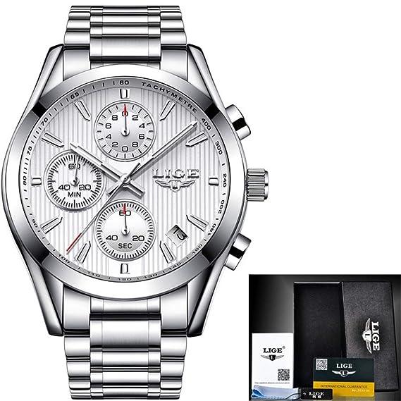 HWCOO LIGE Relojes mecánicos Reloj LIGE Reloj de Cuarzo Masculino Correa de Acero Reloj de los Hombres automático Luminoso Impermeable Reloj de los Hombres ...