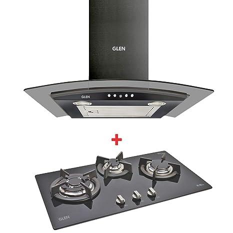 GLEN Kitchen Chimney 6071 Black EX 60cm with Glen 3 Burner Built in Glass Hob 1073 TR