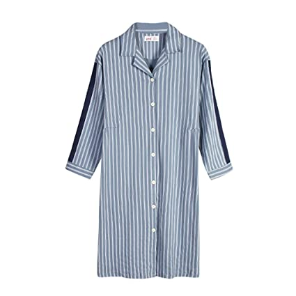 Pijamas ropa de dormir camisón ropa de casa camisón señoras algodón de otoño mangas largas rayas