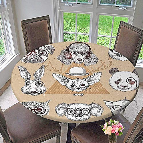 Mikihome Round Premium Tablecloth Sketchy of Dogs with Headphones Collage Art Black White and Khaki Stain Resistant 59