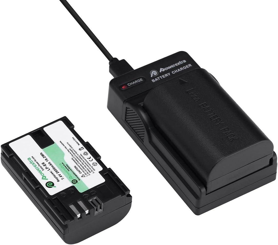 Powerextra 2 Baterías de Canon LP-E6 ,LP-E6N Batería Recargable con Cargador Para Canon 70D, 5D Mark II, 5D Mark III 5DS 6D,7D,80D ,DSLR Cámaras: Amazon.es: Electrónica