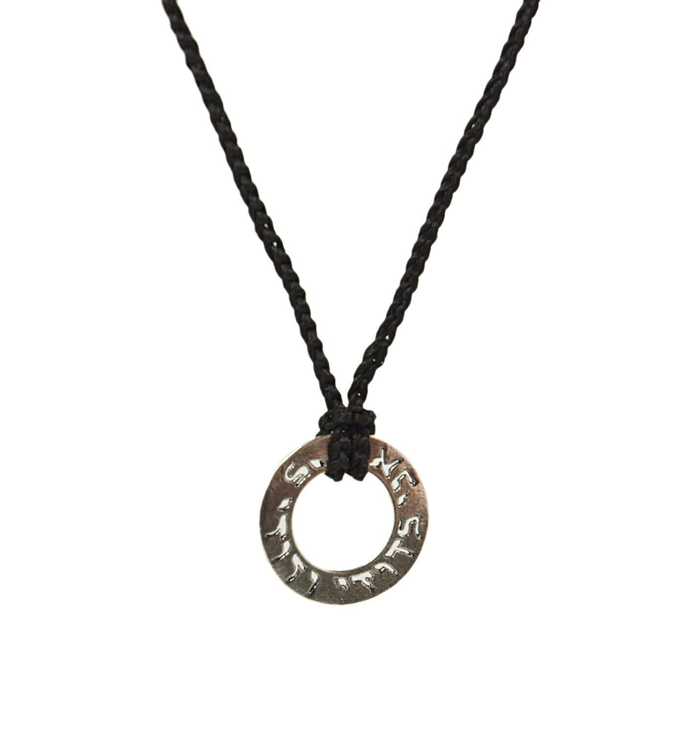 Men's Sterling Silver ''I Am My Beloved'' Ring Charm on Hand knit Necklace in Black