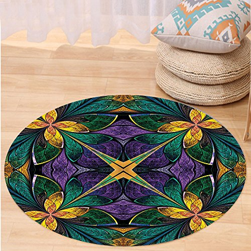 VROSELV Custom carpetFractal Antique Ornate Symmetric Stained Glass Window Style Embellished Floral Pattern for Bedroom Living Room Dorm Green Purple Round 72 inches by VROSELV