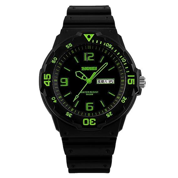 amstt Hombre Negro relojes militares reloj deportivo resistente al agua Calendario Fecha Analógico Reloj de pulsera: Amazon.es: Relojes