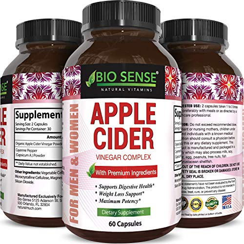 Apple Cider Vinegar Pills for Weight Loss - Extra Strength Fat Burning Supplement - Pure Detox Cleanse & Digestion Support - Natural Apple Cider Vinegar Capsules for Men & Women ()