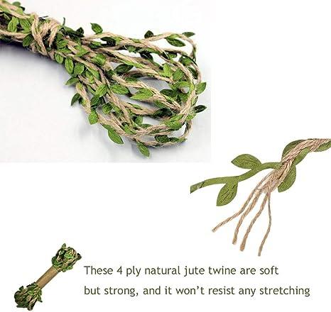 Regalos 6ply Hilo Natural Yute con Hojas Verdes Cuerda de C/á/ñamo para Etiquetas Manualidades DIY decoraci/ón longyisound 1 pcs 32.8 pies Natural Yute Twine proyectos de jardiner/ía Oficina