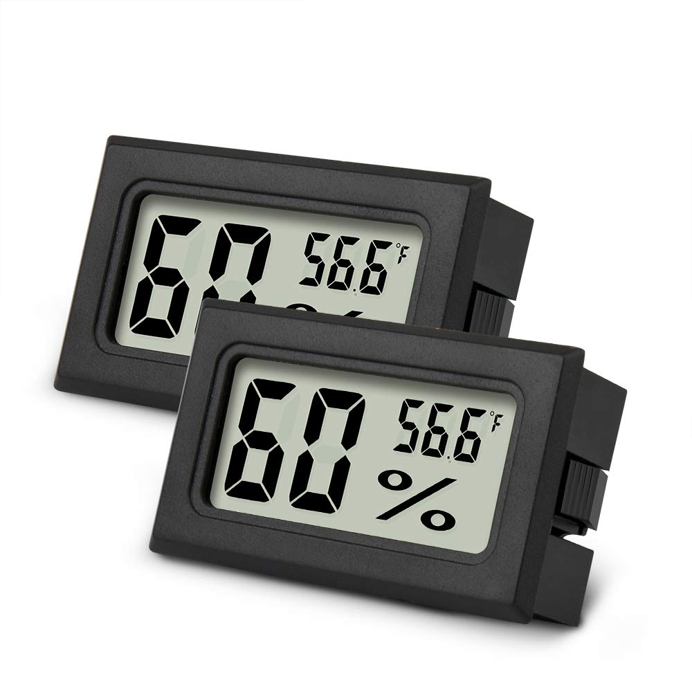 Mini Hygrometer Thermometer 2PCS Mini Digital Humidity Gauge, AikTryee Hygrometer Indoor Humidity Monitor, Temperature Humidity Gauge Meter for Humidors, Greenhouse, Garden, Cellar, Closet, Etc