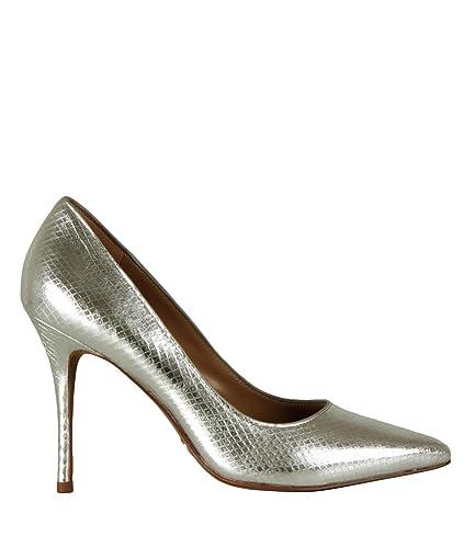 ec84b263662 Michael Kors Women s Heels Decollete Shoes Tiegan Pump Metallic Embossed  Silver