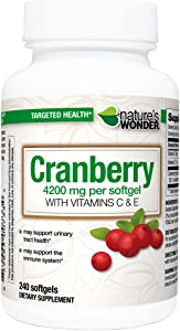 Nature's Wonder Cranberry 8400mg (per Serving, 4200mg per Soft Gel) with C & E Soft Gels, 240 Count