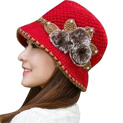 97193c70740b5 feteso moda mujeres dama de invierno cálido gorro de punto de Crochet