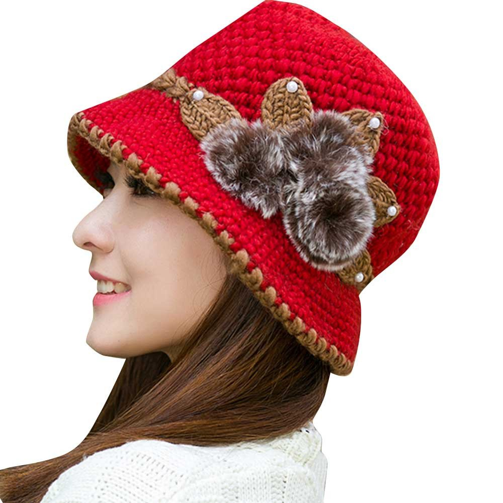 Honhui Women's Fashion Winter Warm Crochet Flowers Decorated Ears Knit Cap Hat
