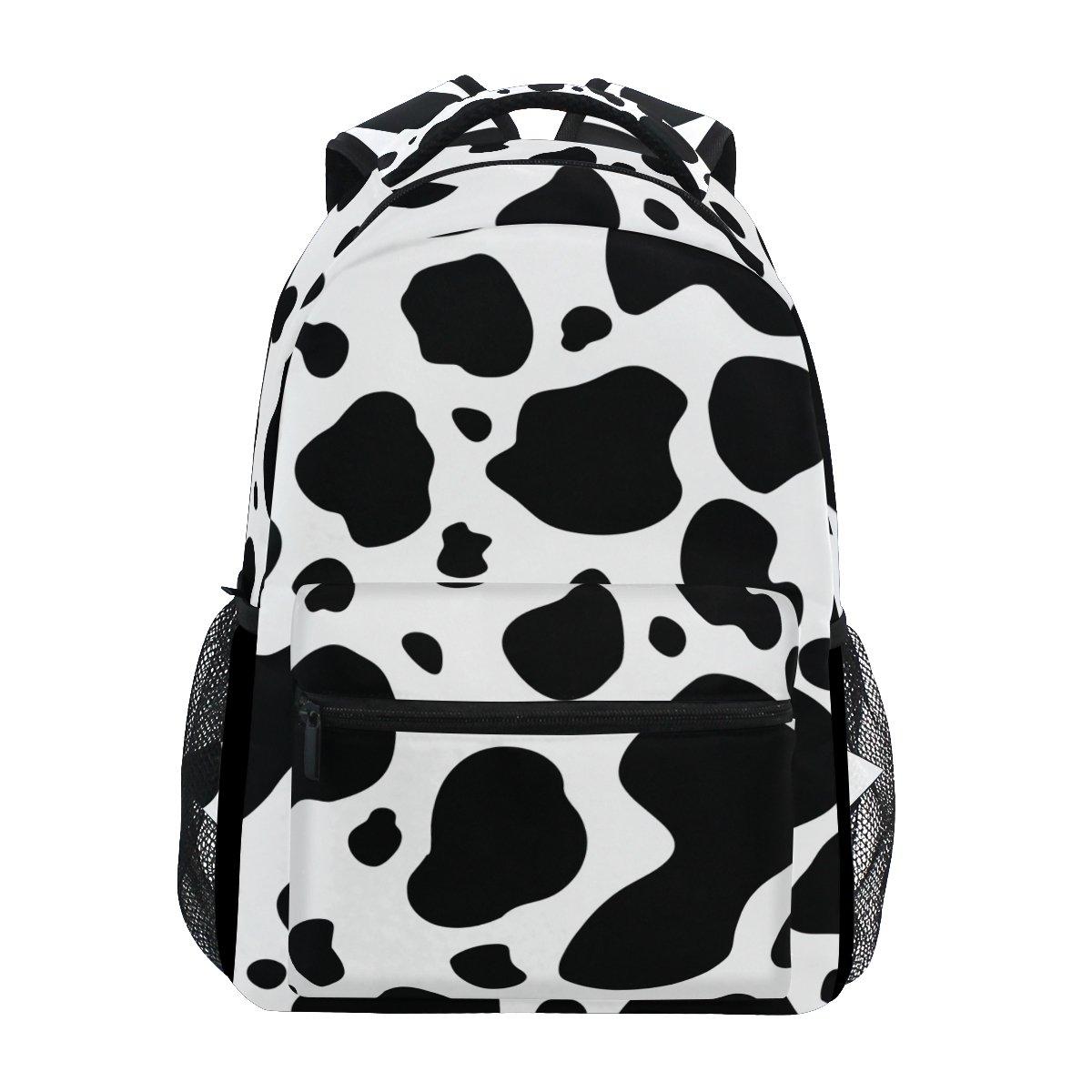 blanco y negro Vaca Mochila Casual Escuela bolsa de viaje Multicolor