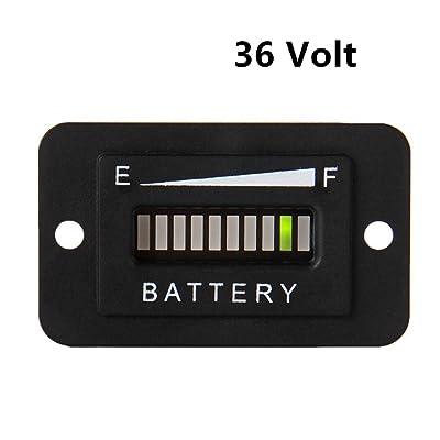 AIMILAR Battery Indicator 36V - 36 Volt LED Battery Meter Gauge for Standard Lead Acid Batteries Yamaha Club Car Golf Cart Forklift ATV Lifter: Automotive