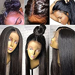 Lace Front Human Hair Wigs Straight Brazilian Remy Hair Lace Front Wig With Baby Hair Pre Plucked Natural Hariline For African Americans 12inches