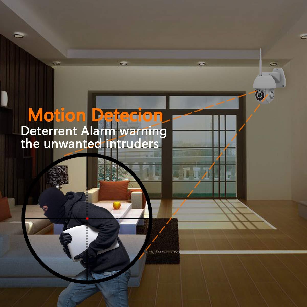 Notificaci/ón de Alarma Detecci/ón de Movimiento PTZ Camara Vigilancia 355/° Pan//90/° Tilt Visi/ón Nocturna Camara WiFi Exterior Impermeable IP66 con Audio de Dos V/ías