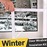 """Reusable Extra Large and Heavy Duty Door Window Insulation Kit, Indoor Outdoor Window Shrink Film Insulator Kit, Weatherproof Patio Door Insulator Kit for Winter, 47"""" x 98"""""""