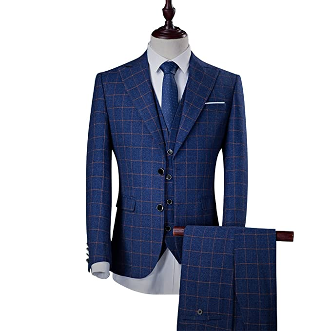 Mens Suit Slim Fit 3-Piece Soild Casual Grid Suit Business ...