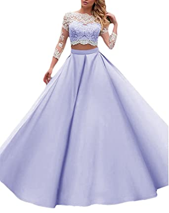 Vweil 2018 Long 2 Pieces Lace Prom Dresses For Seniors 3/4 Sleeves Lavender US2