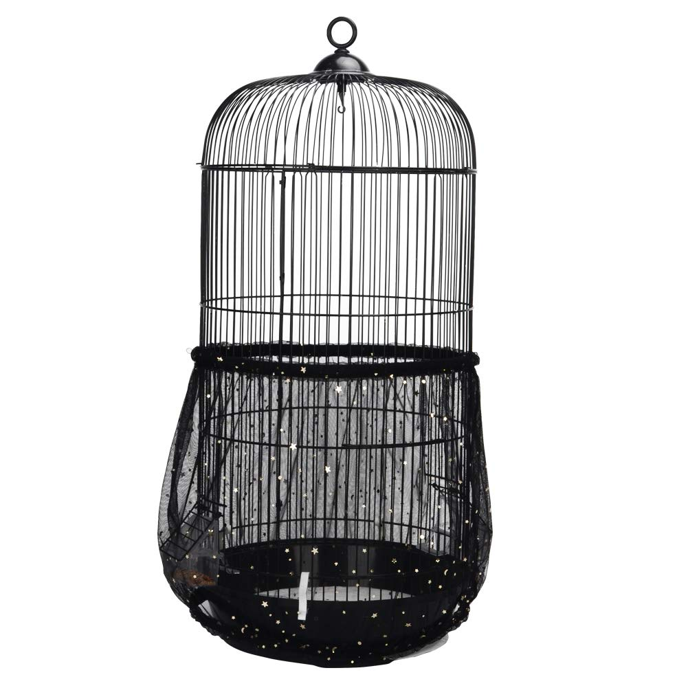 QBLEEV Bird Cage Seed Catcher Mesh Birdcage Seeds Skirt Guard Net Cover Shell for Round Bird Cages Black