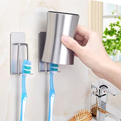 Toothbrush Cup Toothpaste Holder Hanger Set Wall Mounted Bathroom Storage  Organizer Stainless Steel Electric Toothbrush Shelf