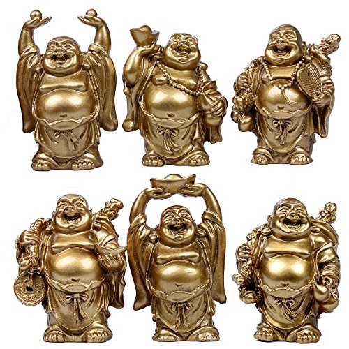 6pcs Resin Statue Laughing Buddha Laughing Buddha Statue Figurines Lucky Buddha Happy Buddha Feng Shui Buddha Laughing Buddha Set Of 6 (2.5'' gold)
