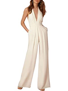 adb66fa3cb66 Indistyle Women s Elegant Deep V Neck Backless Halter Jumpsuit Sleeveless  Wide Long Pants Rompers
