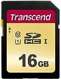 Transcend TS16GSDC500S Carte Mémoire SDHC 16 Go UHS-I U3 (Gold)