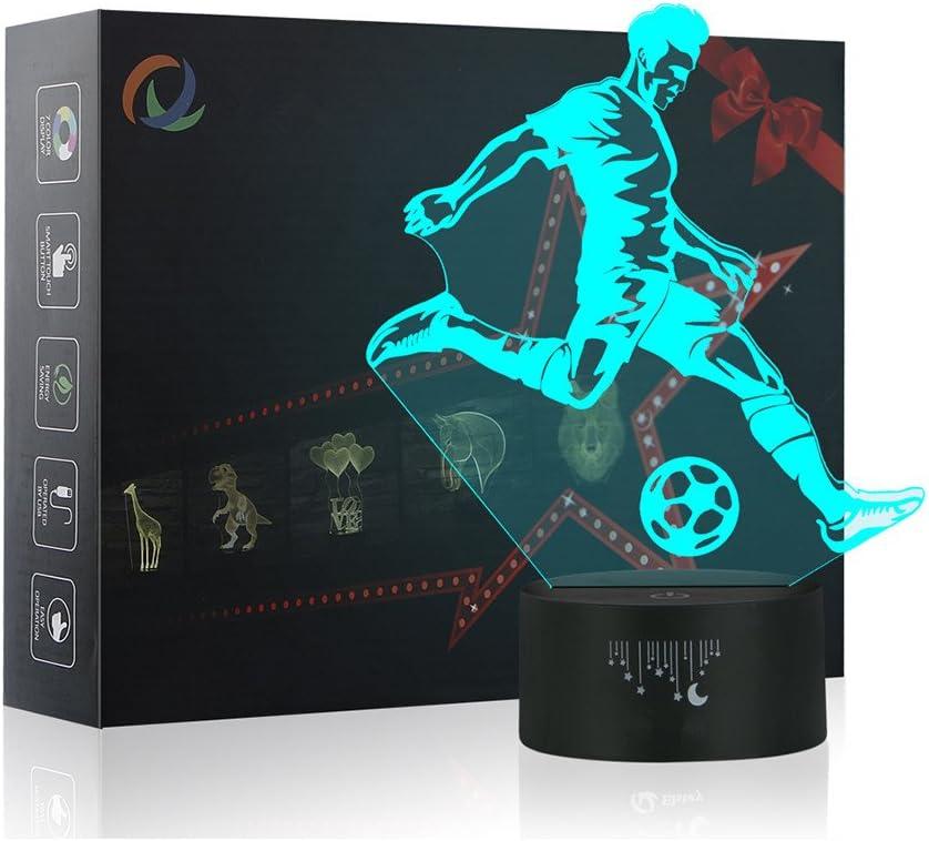 Jugar Fútbol Luz de la Noche del 3D, LED Lámpara de Mesa 7 colores Cambiando con el Botón de Tacto Inteligente Iluminación Decoración Dormir Lámpara, Regalos Perfectos para Niños Navidad
