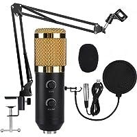 Micrófonos de Condensador, Juego de Micrófonos de Condensador USB con Montura de Metal, Soporte Ajustable para Brazo de…