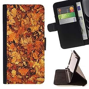 For Sony Xperia Z1 L39 Case , Hojas de oro de Brown Bosque Amarillo- la tarjeta de Crédito Slots PU Funda de cuero Monedero caso cubierta de piel