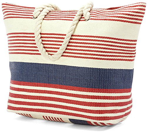 Soft Handles Red Striped BZ4898 Beach Rope Large with Bag qaZwx1