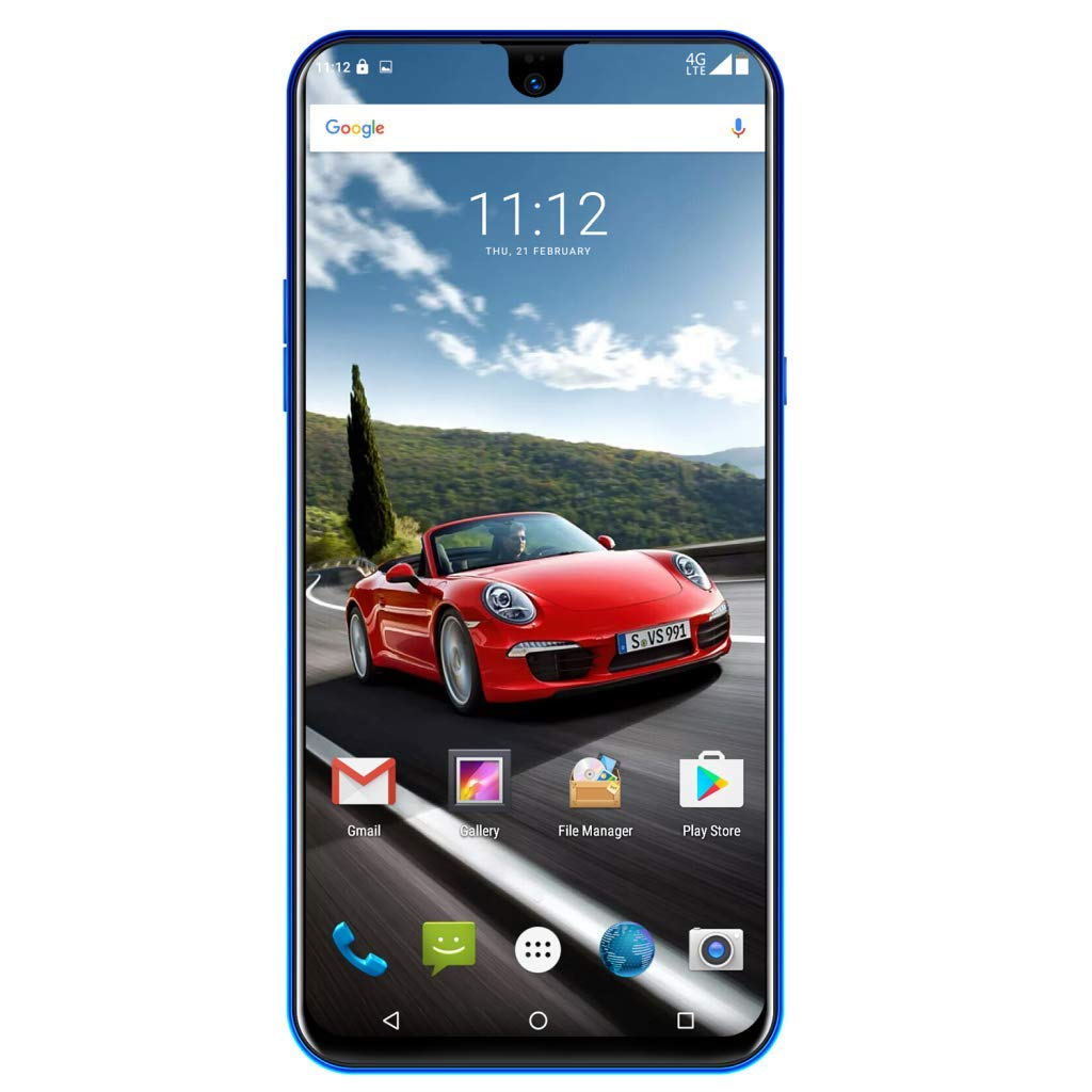 Unlocked 6.2 Inch Dual HD Camera Smartphone Full Water Drop Screen Android Mobile Phone 2G RAM/32G ROM 3G Cell Phones (Blue, Model:X23)
